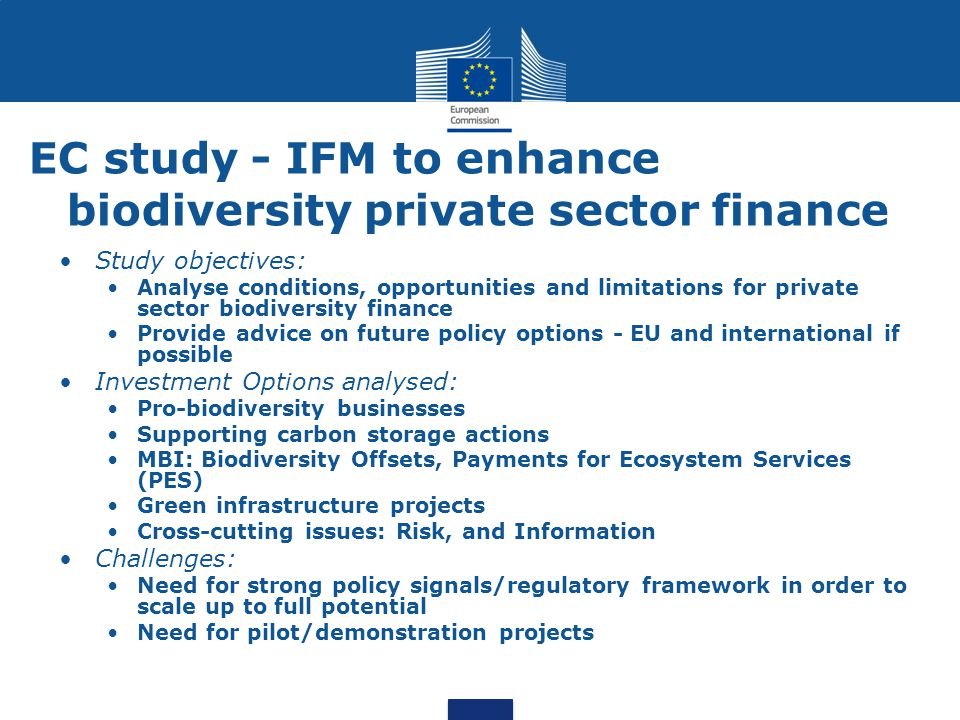 EC study - IFM to enhance biodiversity private sector finance