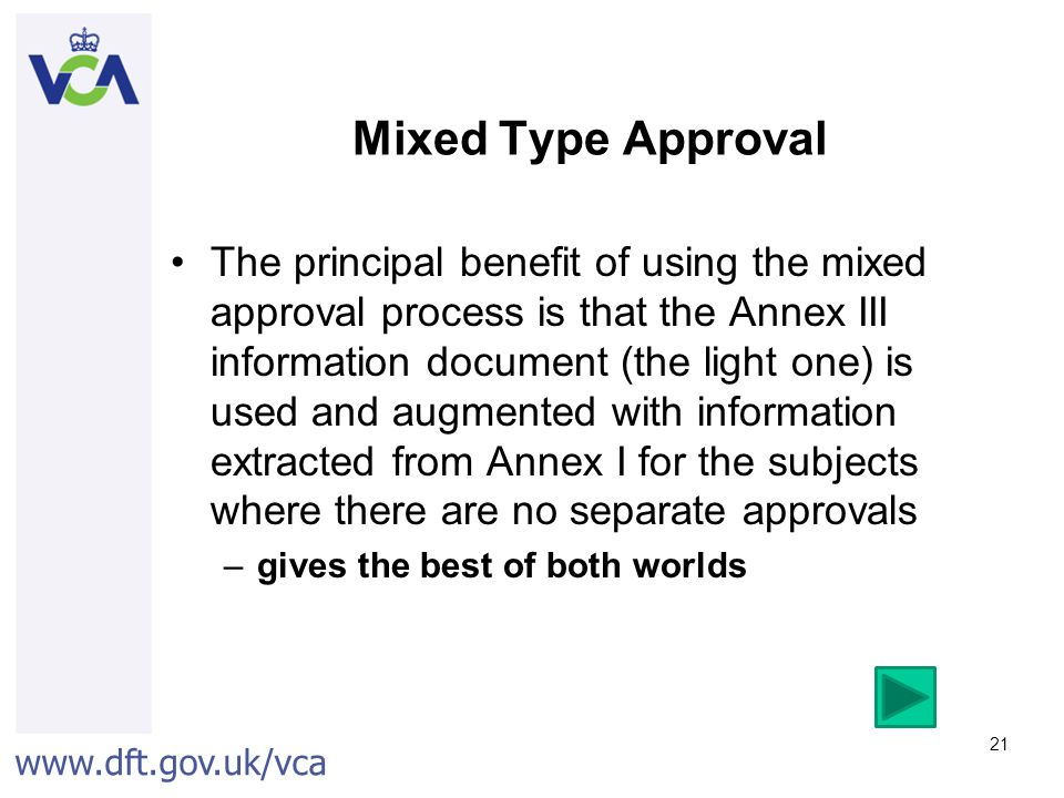 Mixed Type Approval