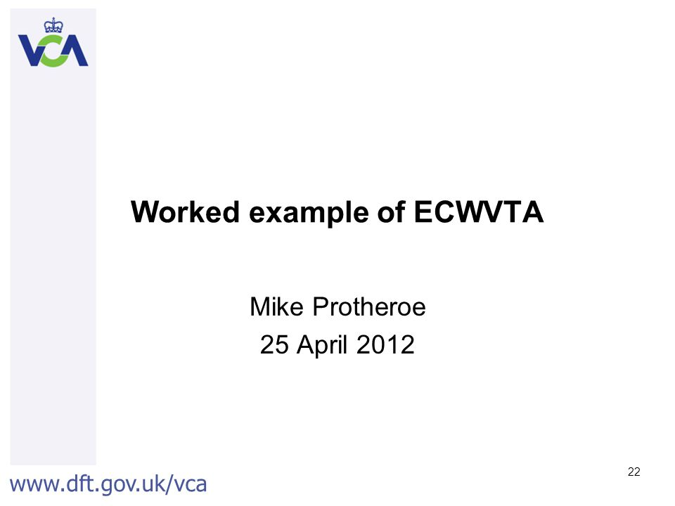Worked example of ECWVTA