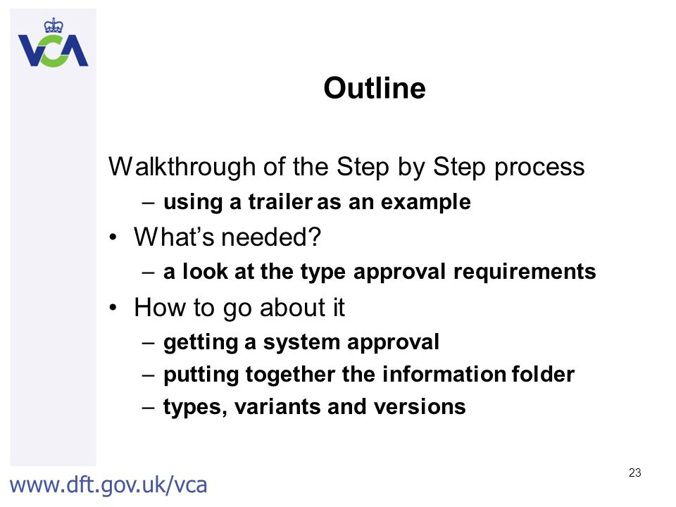 Outline Walkthrough of the Step by Step process What's needed