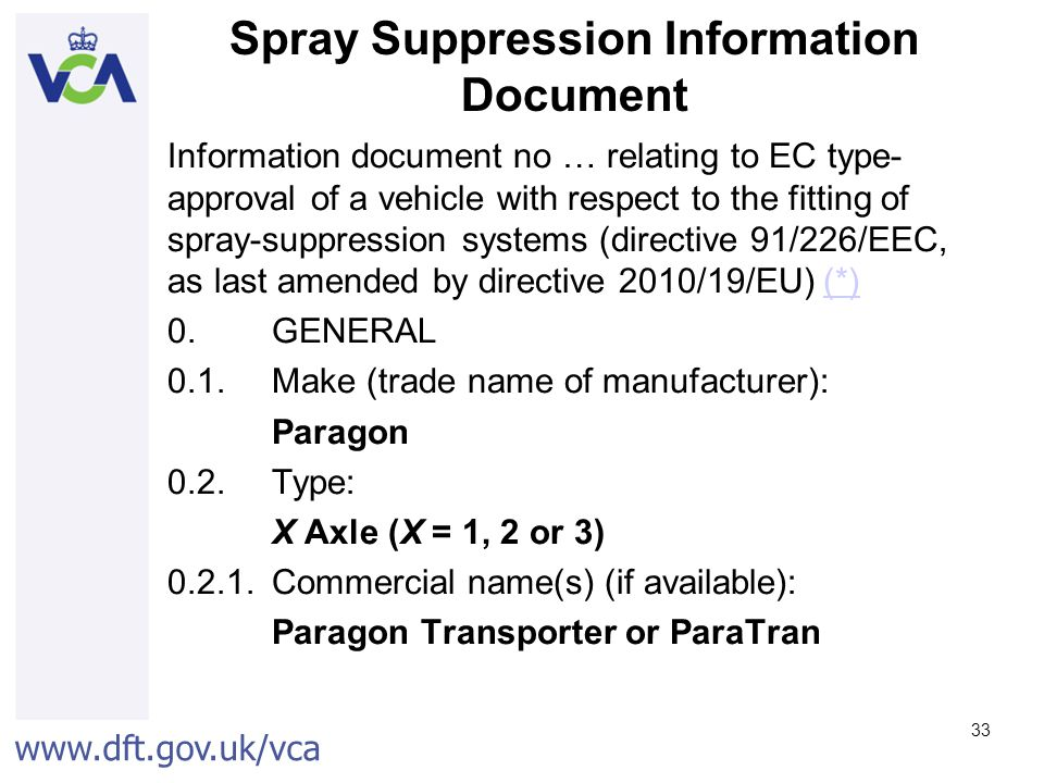 Spray Suppression Information Document