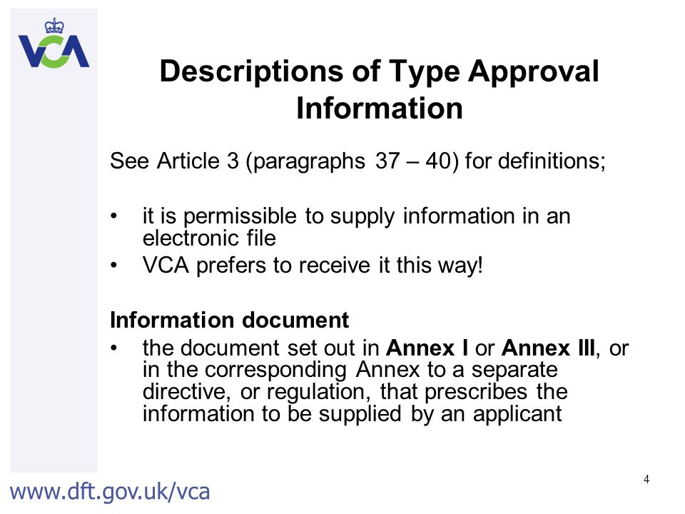 Descriptions of Type Approval Information
