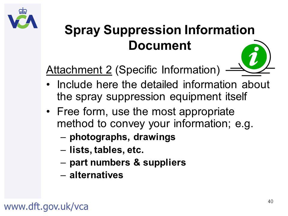Spray Suppression Information Document