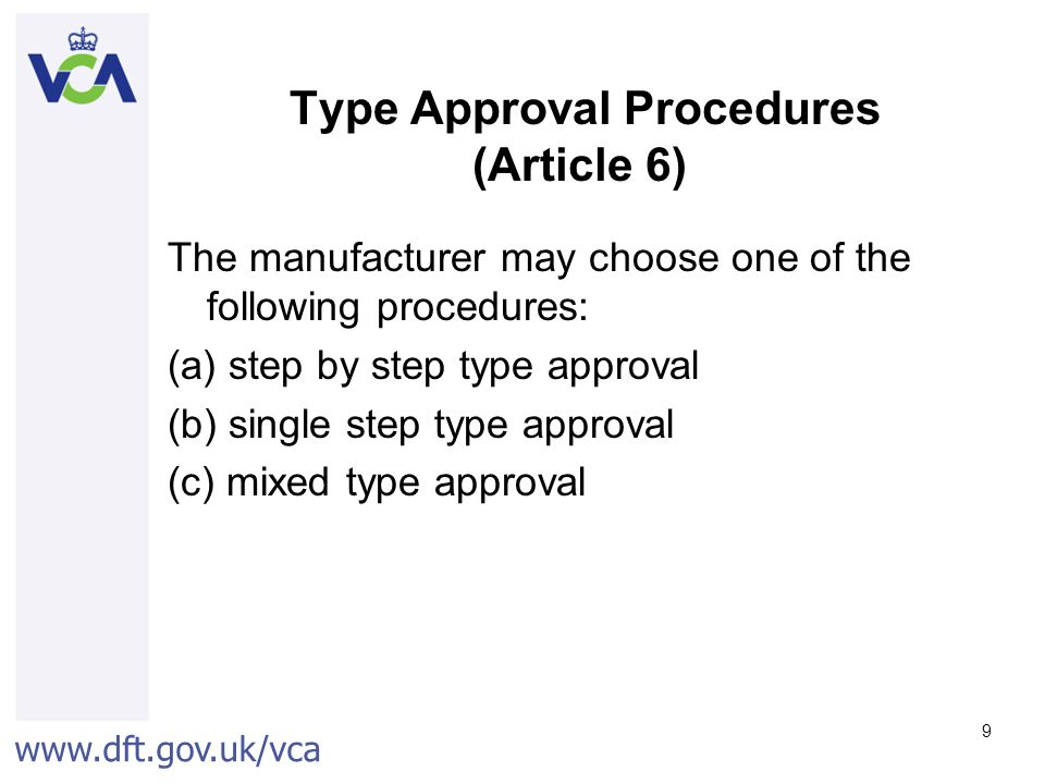 Type Approval Procedures (Article 6)