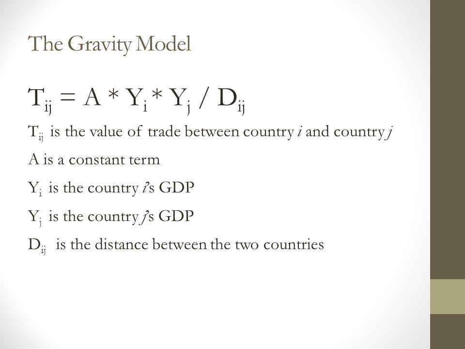 Tij = A * Yi * Yj / Dij The Gravity Model