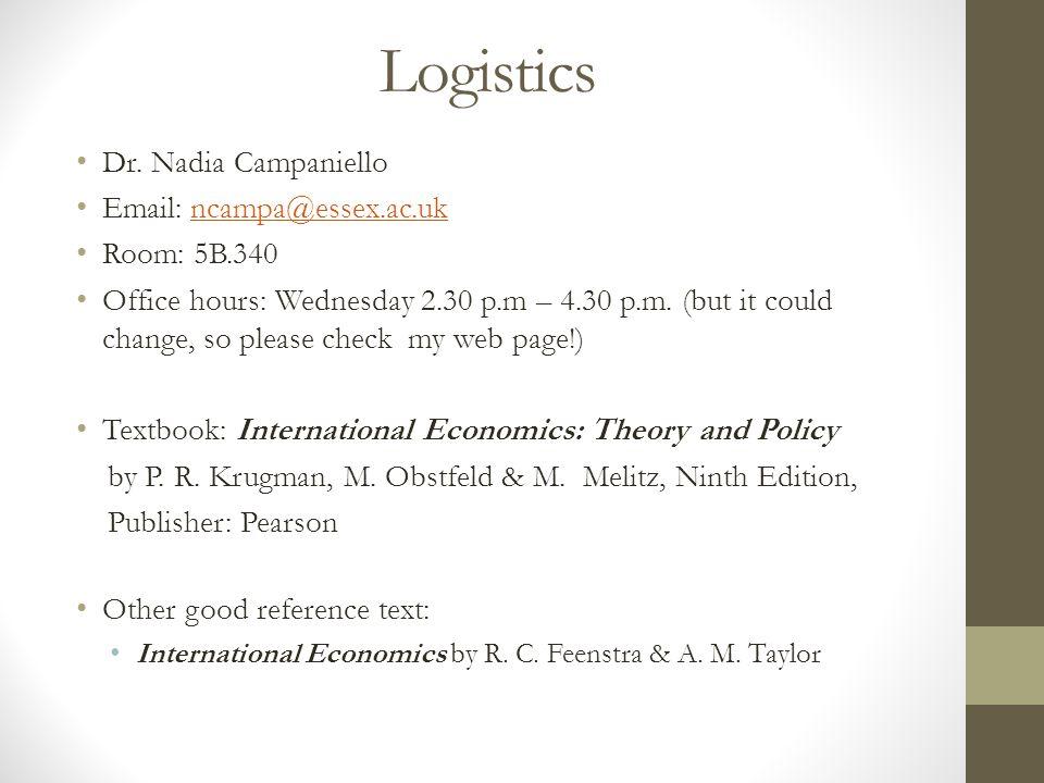 Logistics Dr. Nadia Campaniello
