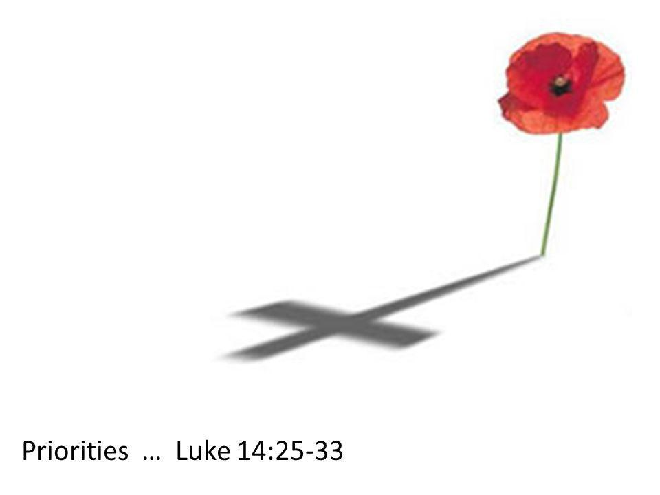 Priorities … Luke 14:25-33