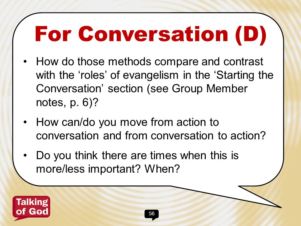 For Conversation (D)