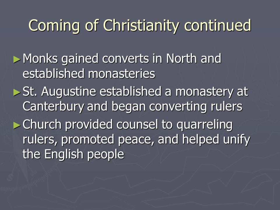 Coming of Christianity continued