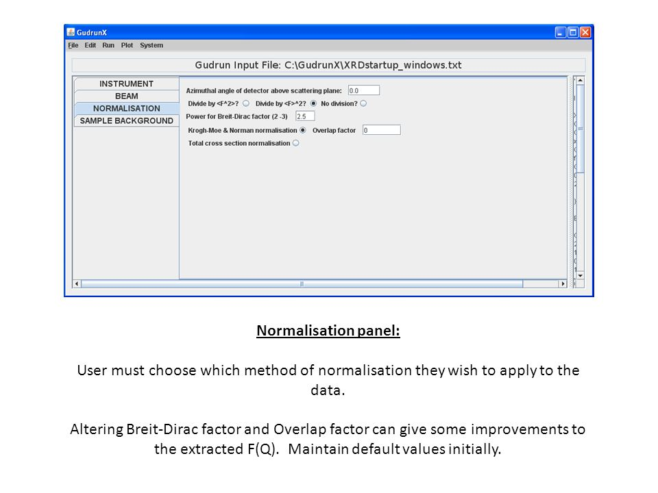 Normalisation panel: User must choose which method of normalisation they wish to apply to the data.
