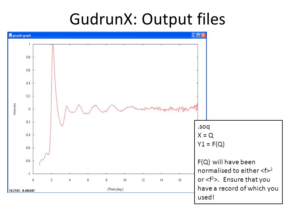 GudrunX: Output files .soq X = Q Y1 = F(Q)