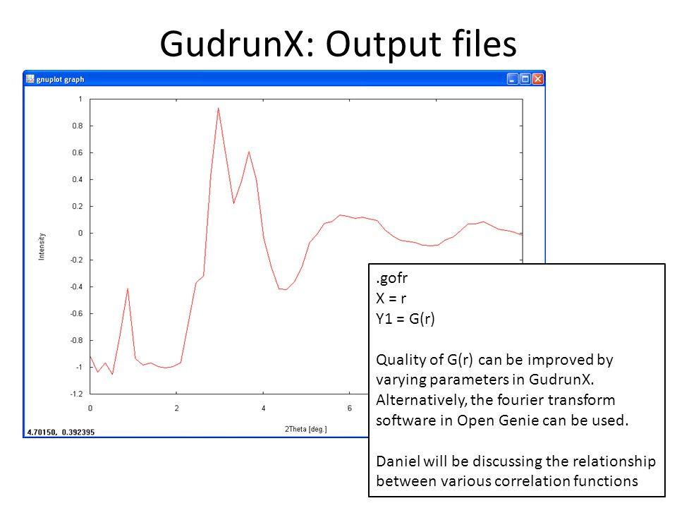 GudrunX: Output files .gofr X = r Y1 = G(r)