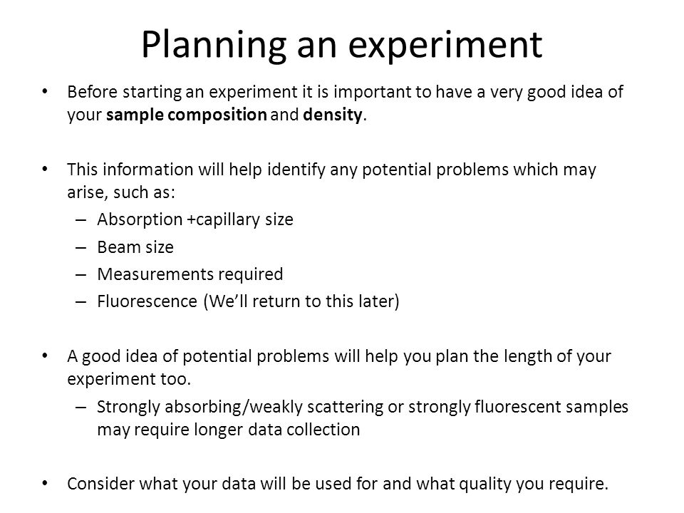 Planning an experiment
