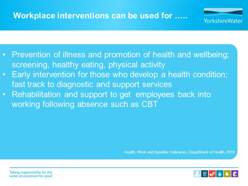 Workplace interventions can be used for …..