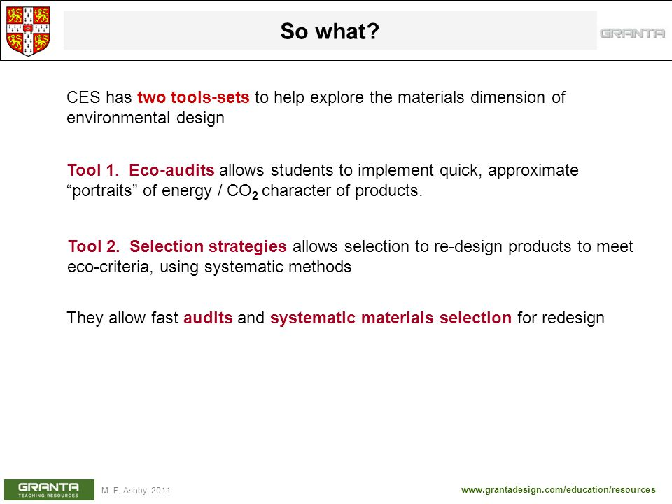 So what CES has two tools-sets to help explore the materials dimension of environmental design.