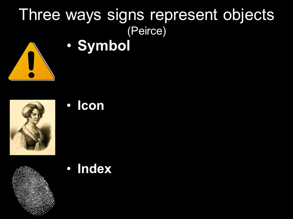 Three ways signs represent objects (Peirce)