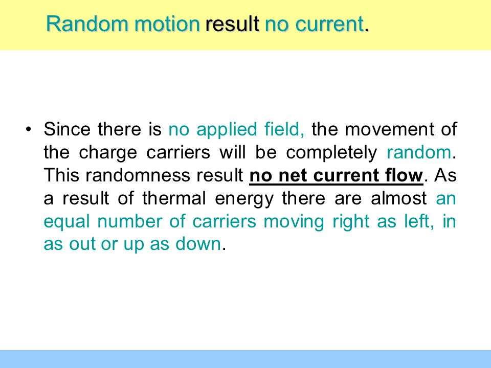 Random motion result no current.