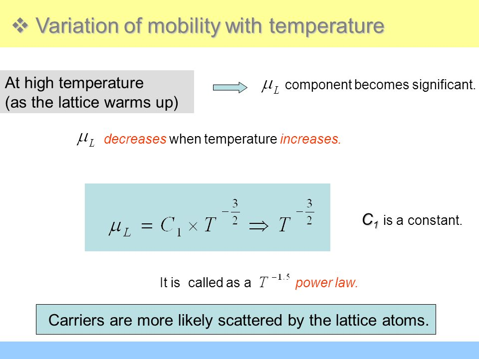 Variation of mobility with temperature