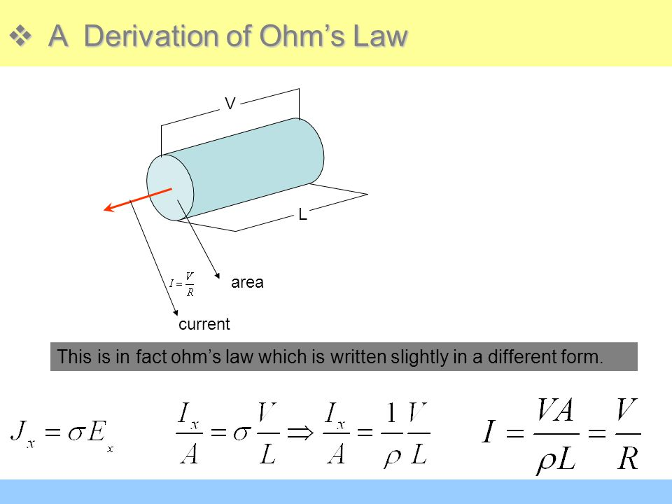 A Derivation of Ohm's Law