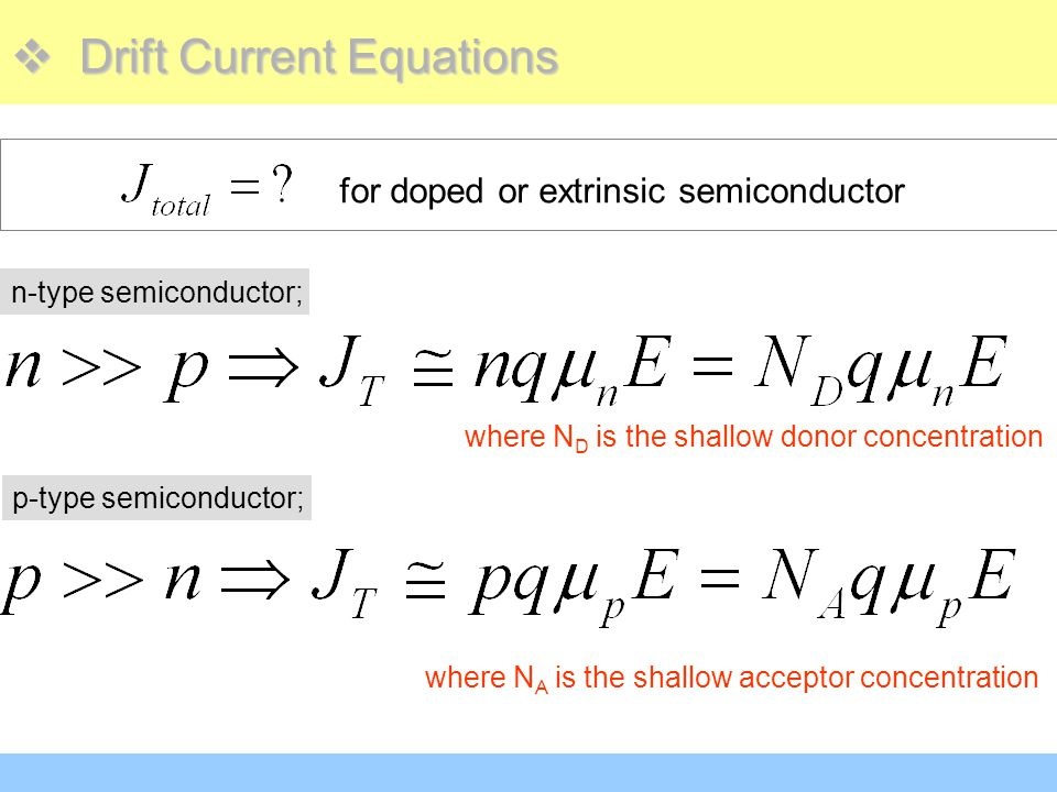 Drift Current Equations