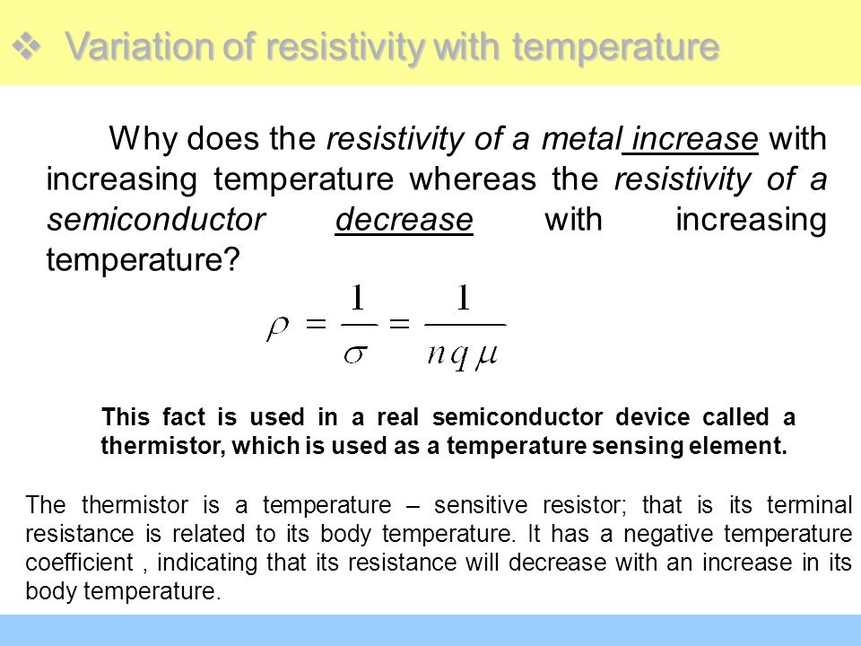 Variation of resistivity with temperature