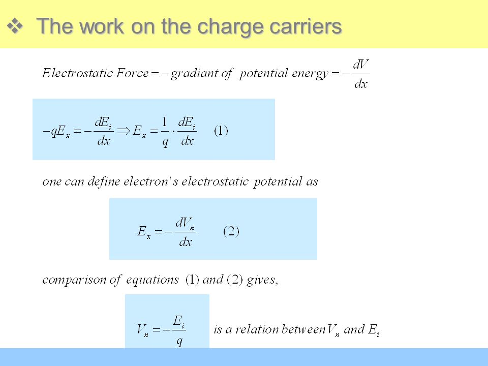 The work on the charge carriers