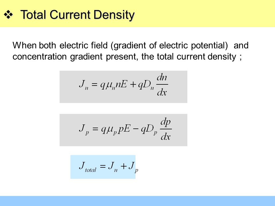 Total Current Density When both electric field (gradient of electric potential) and concentration gradient present, the total current density ;