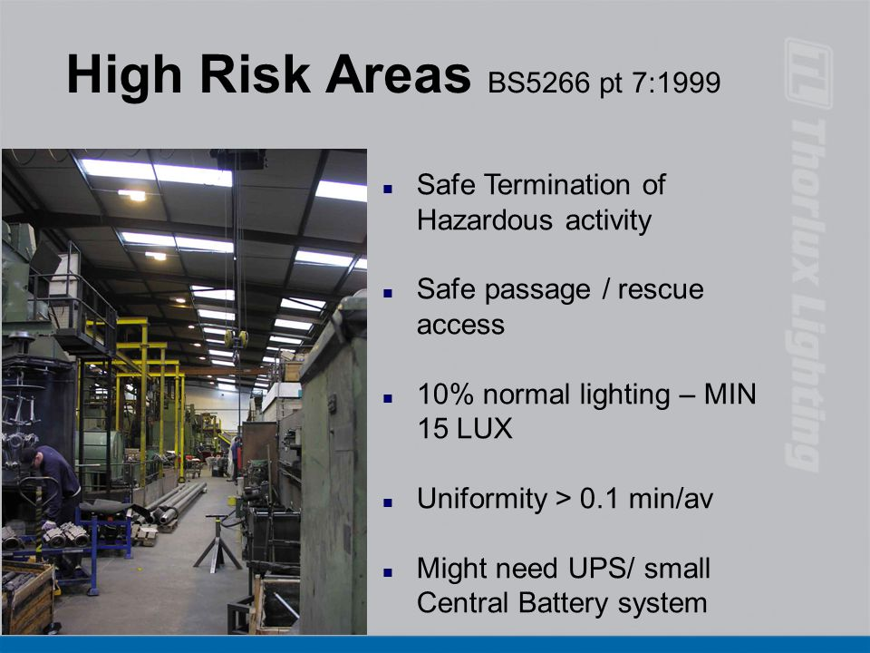 High Risk Areas BS5266 pt 7:1999 Safe Termination of Hazardous activity. Safe passage / rescue access.
