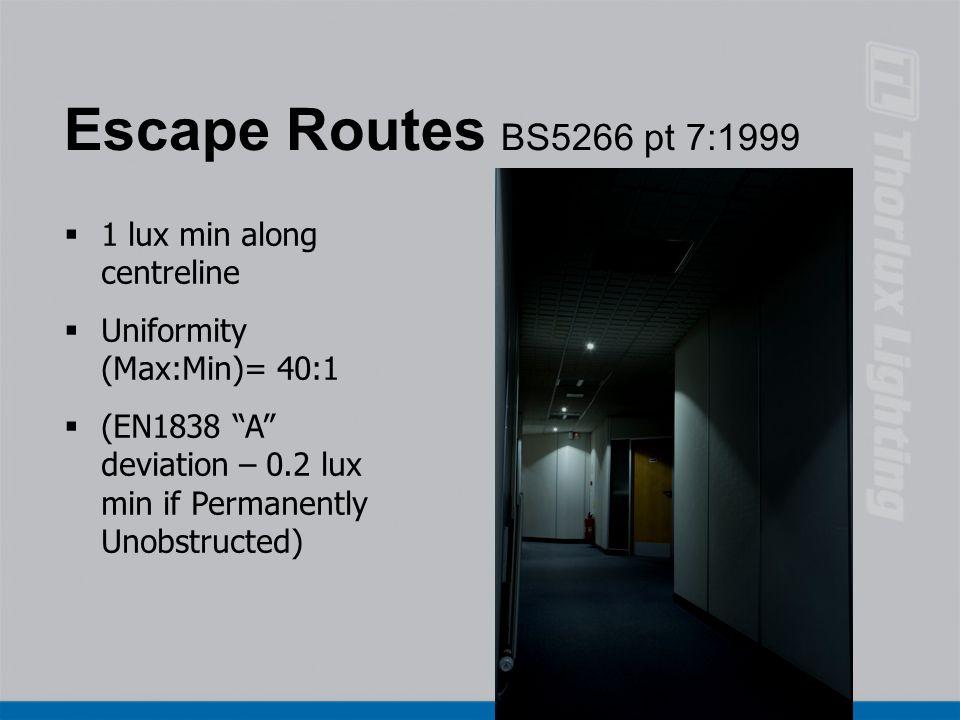 Escape Routes BS5266 pt 7:1999 1 lux min along centreline
