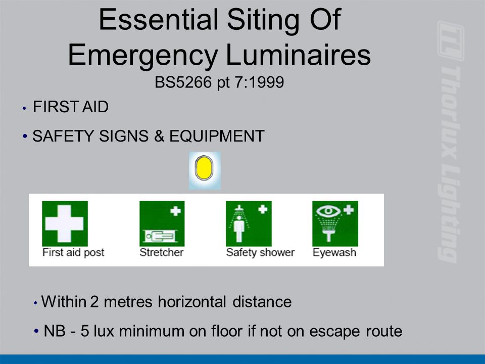 Essential Siting Of Emergency Luminaires BS5266 pt 7:1999