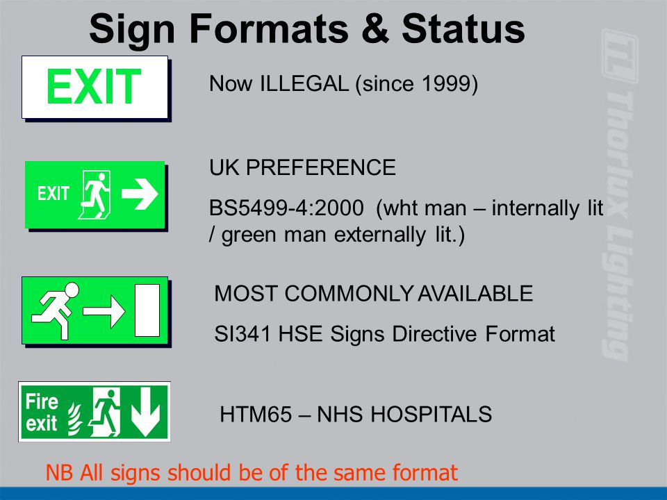 NB All signs should be of the same format