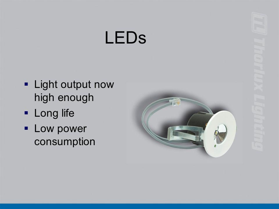LEDs Light output now high enough Long life Low power consumption