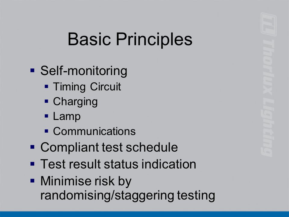 Basic Principles Self-monitoring Compliant test schedule
