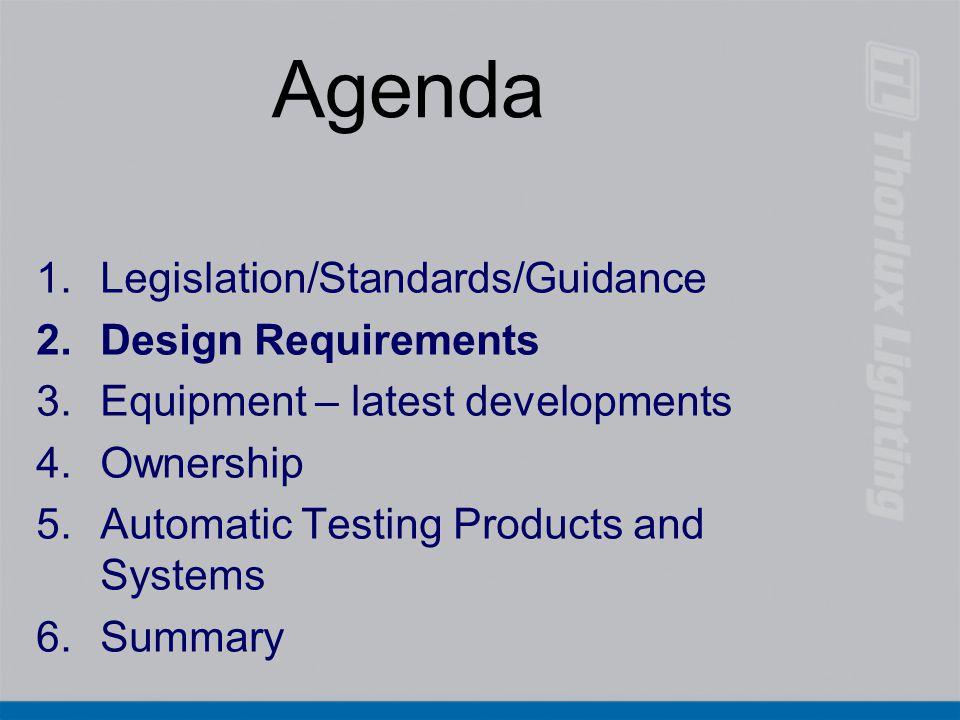 Agenda Legislation/Standards/Guidance Design Requirements