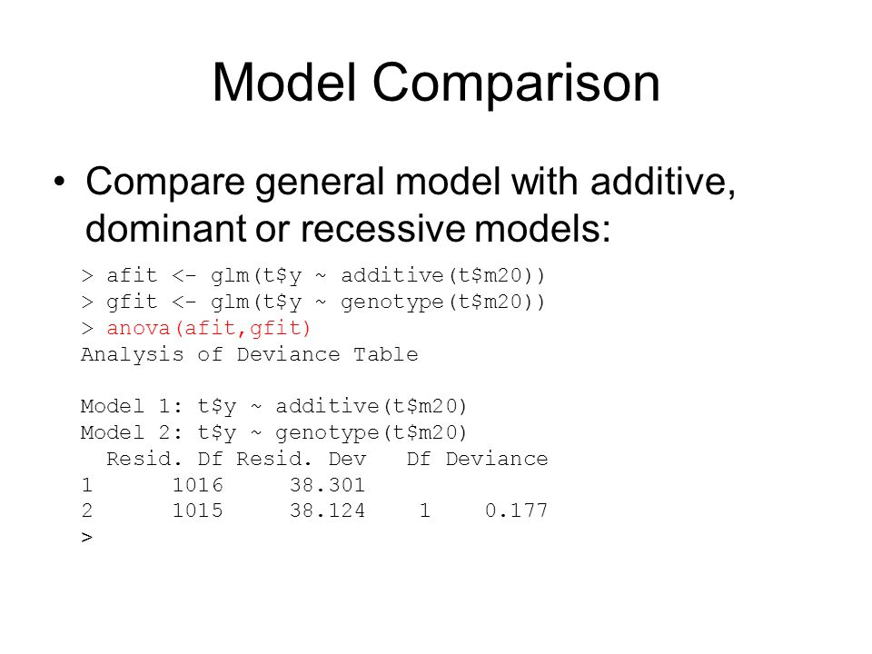 Model Comparison Compare general model with additive, dominant or recessive models: > afit <- glm(t$y ~ additive(t$m20))