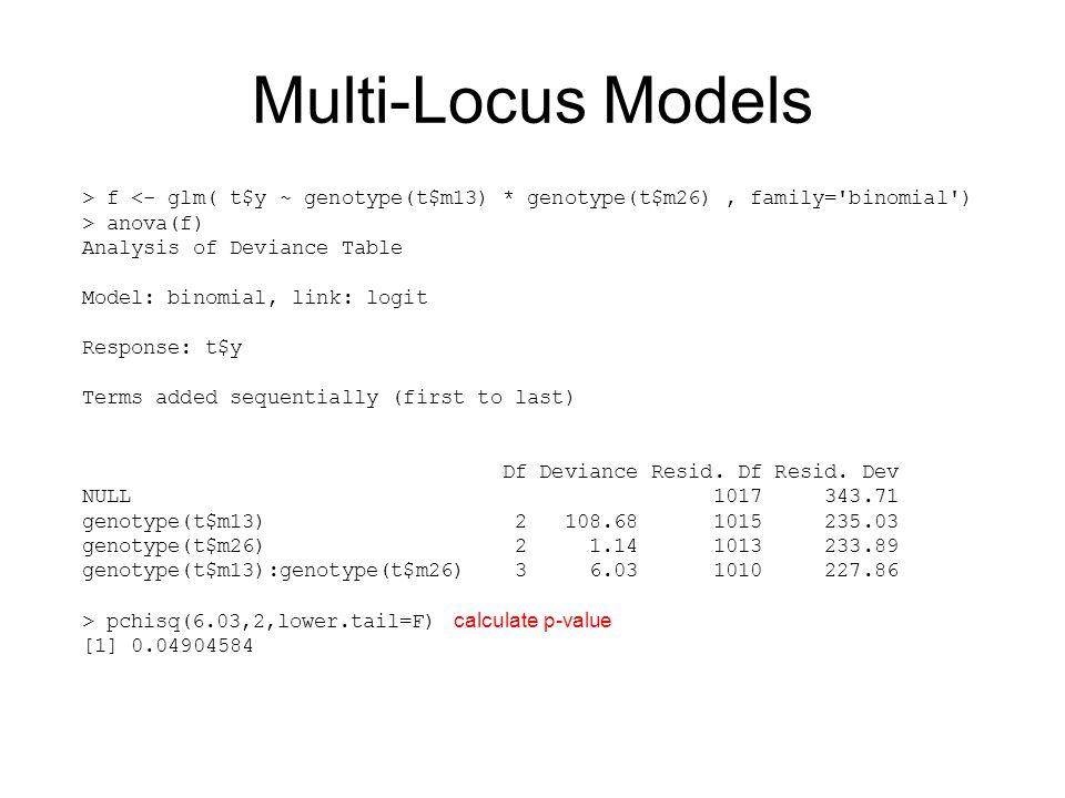 Multi-Locus Models > f <- glm( t$y ~ genotype(t$m13) * genotype(t$m26) , family= binomial ) > anova(f)