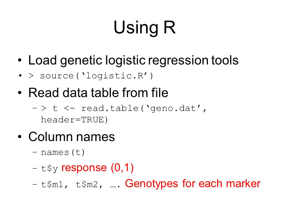Using R Load genetic logistic regression tools