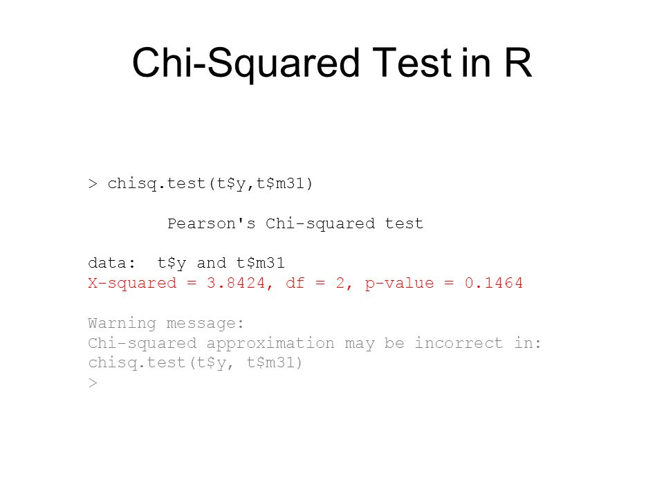 Chi-Squared Test in R > chisq.test(t$y,t$m31)