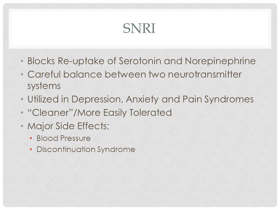 SNRI Blocks Re-uptake of Serotonin and Norepinephrine