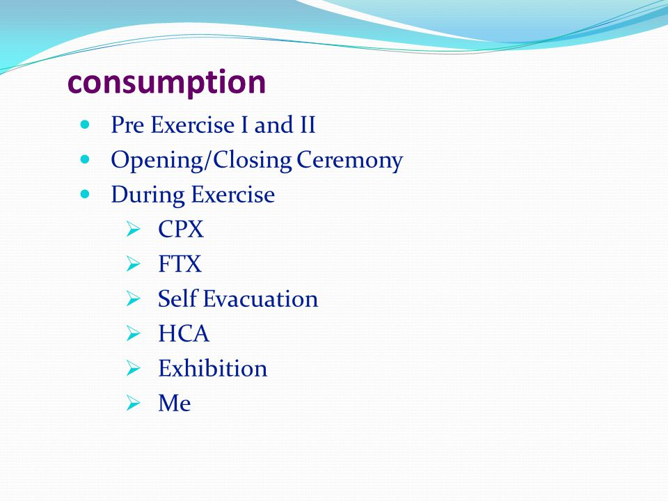 consumption Pre Exercise I and II Opening/Closing Ceremony
