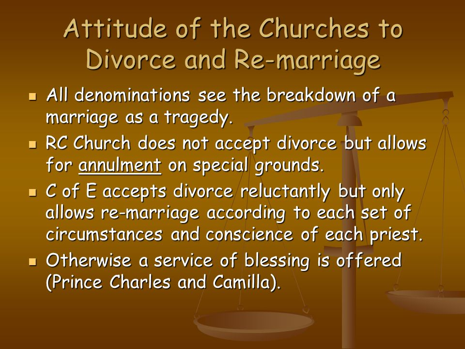 Attitude of the Churches to Divorce and Re-marriage