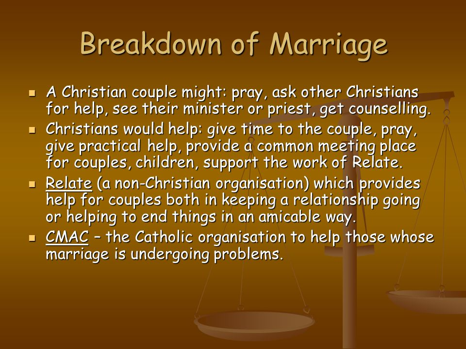 Breakdown of Marriage A Christian couple might: pray, ask other Christians for help, see their minister or priest, get counselling.