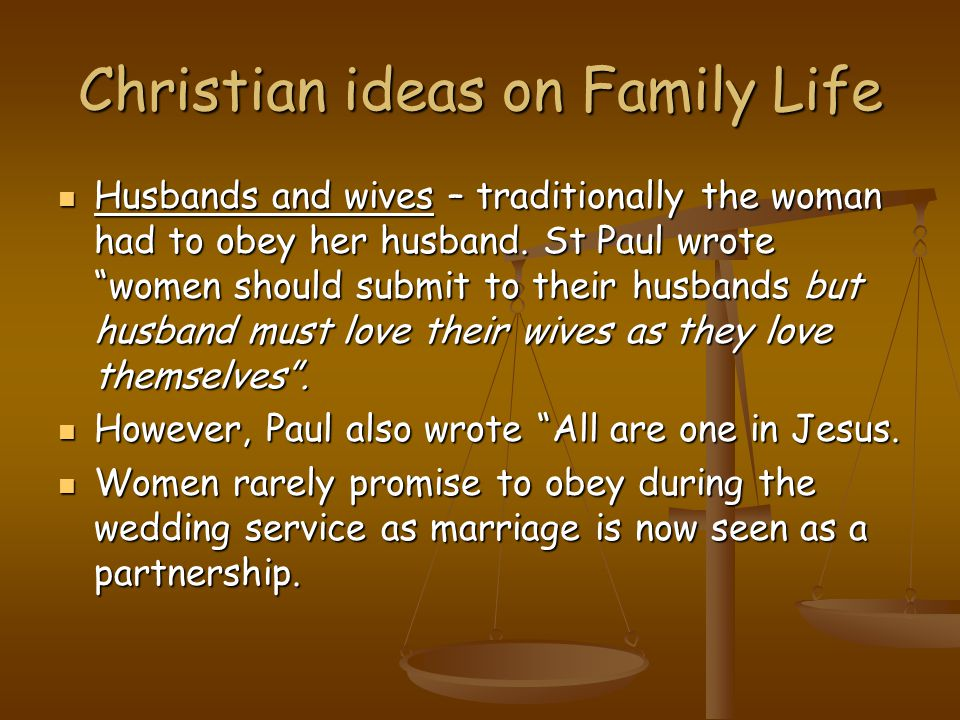 Christian ideas on Family Life