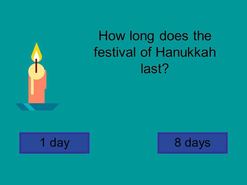 How long does the festival of Hanukkah last