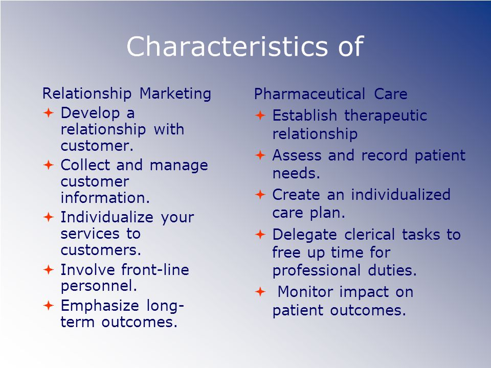 Characteristics of Relationship Marketing Pharmaceutical Care
