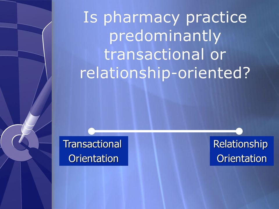 Is pharmacy practice predominantly transactional or relationship-oriented