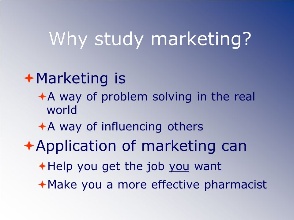 Why study marketing Marketing is Application of marketing can