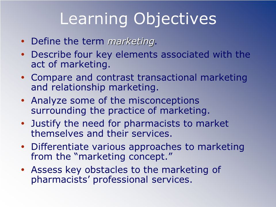 Learning Objectives Define the term marketing.