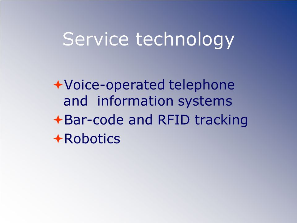 Service technology Voice-operated telephone and information systems