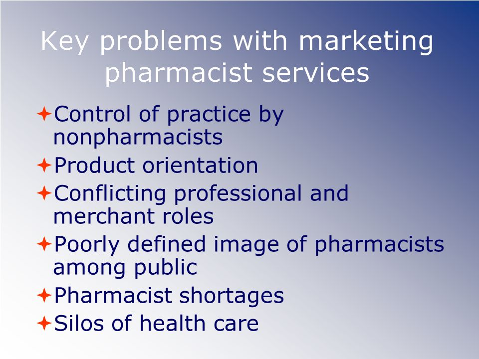 Key problems with marketing pharmacist services